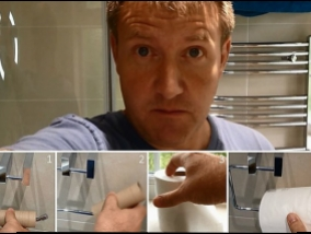 Witty dad lesson for kids: how to change the toilet paper? (Video)