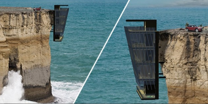 With a view of the gulf: the rock fill up 5-storey house